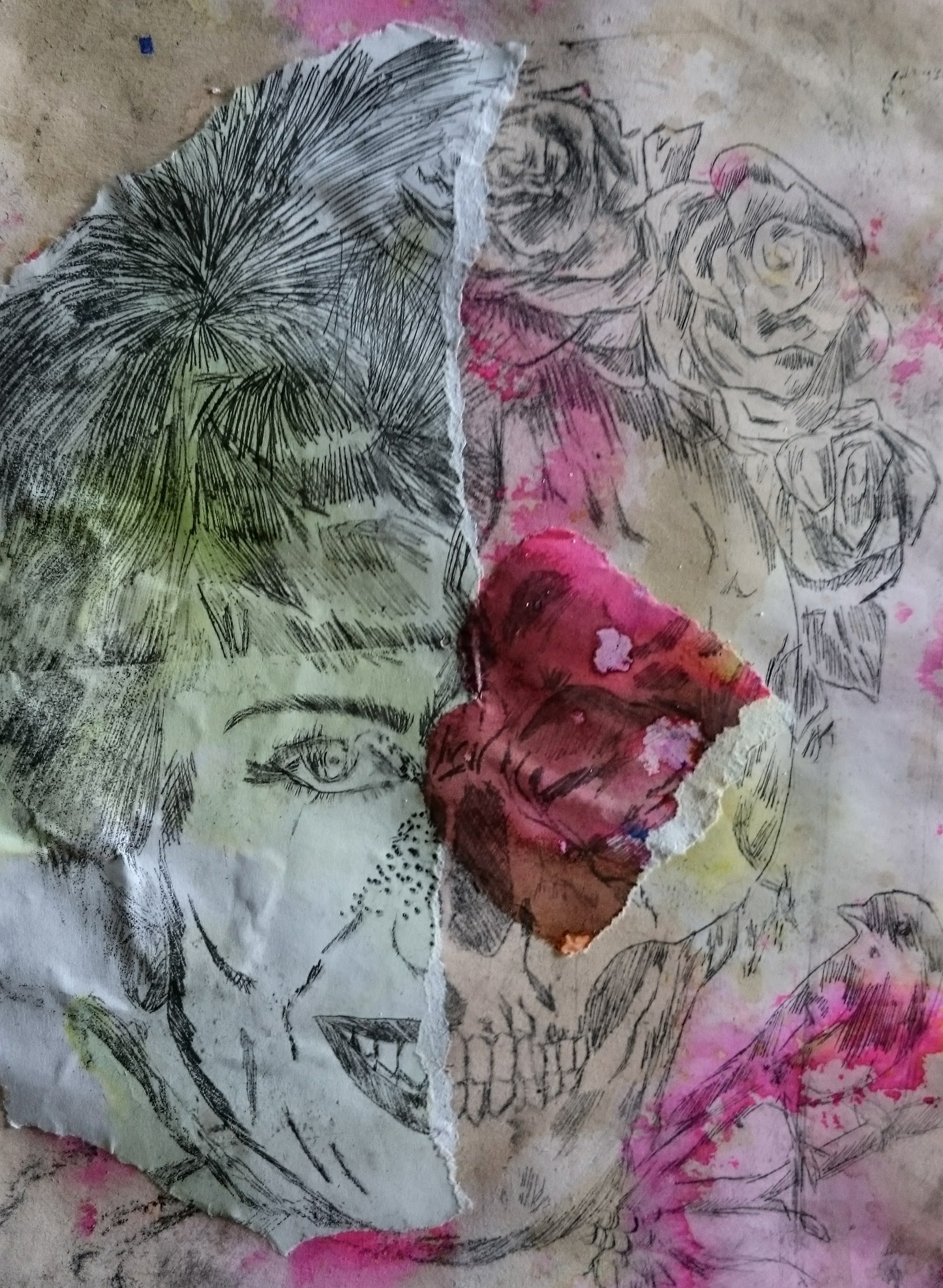 Intaglio prints with collage