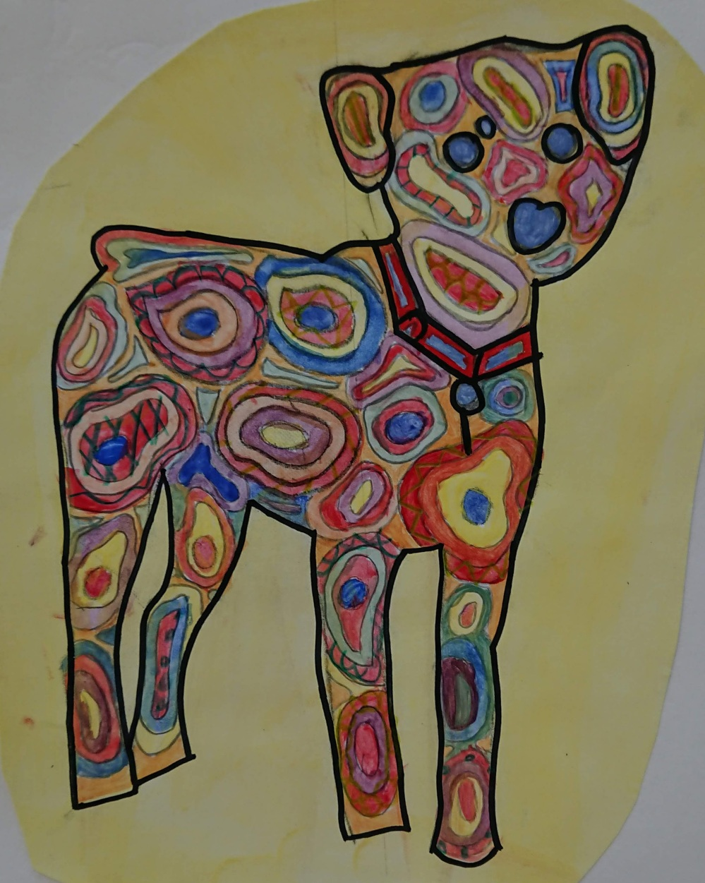 KS3 Colour theory painting project - puppy