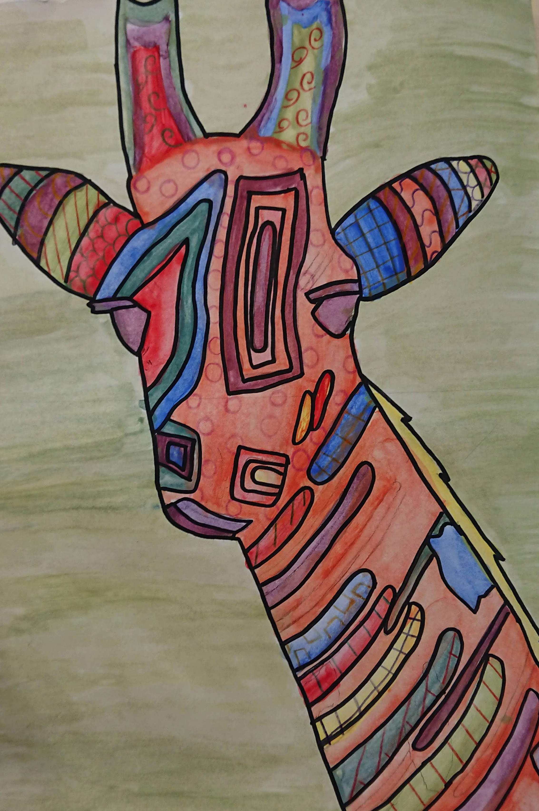 KS3 Colour theory painting project - giraffe