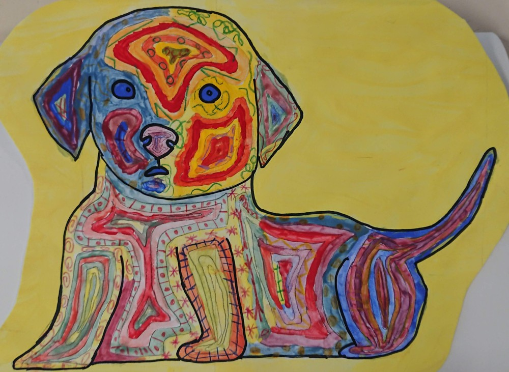 KS3 Colour theory painting project - dog