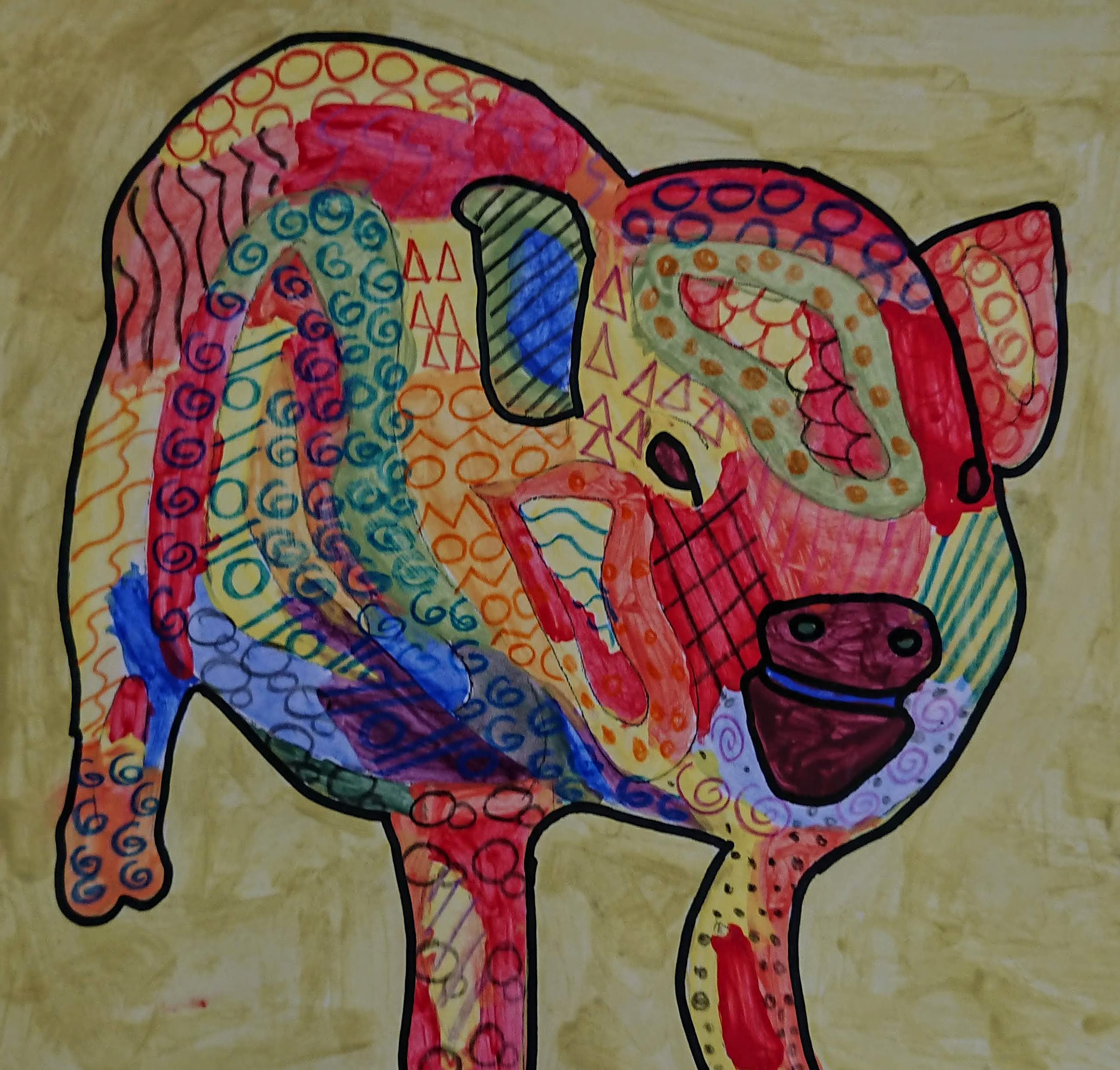 KS3 Colour theory painting project - pig