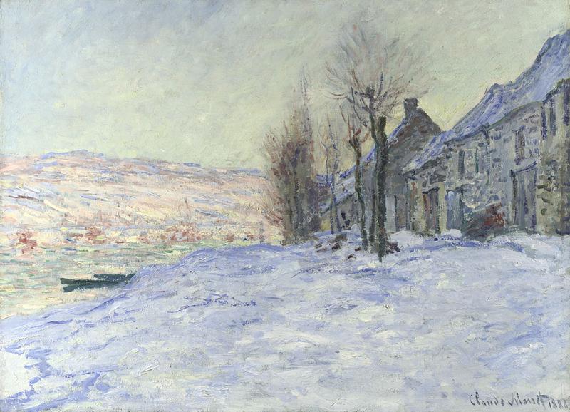 Landscape artist Claude Monet Lavacourt under Snow