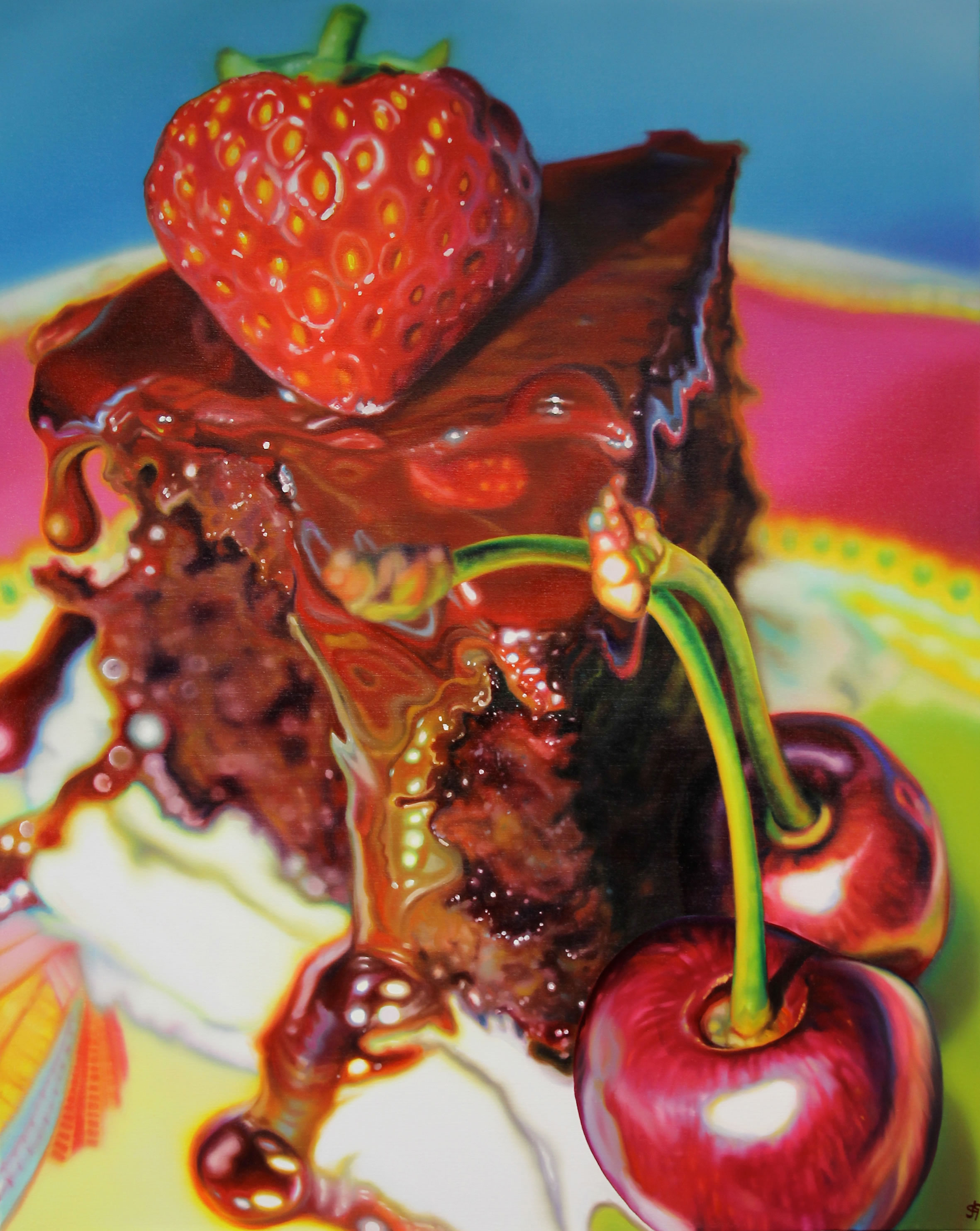 Sarah Graham Painting - eat me - chocolate cake