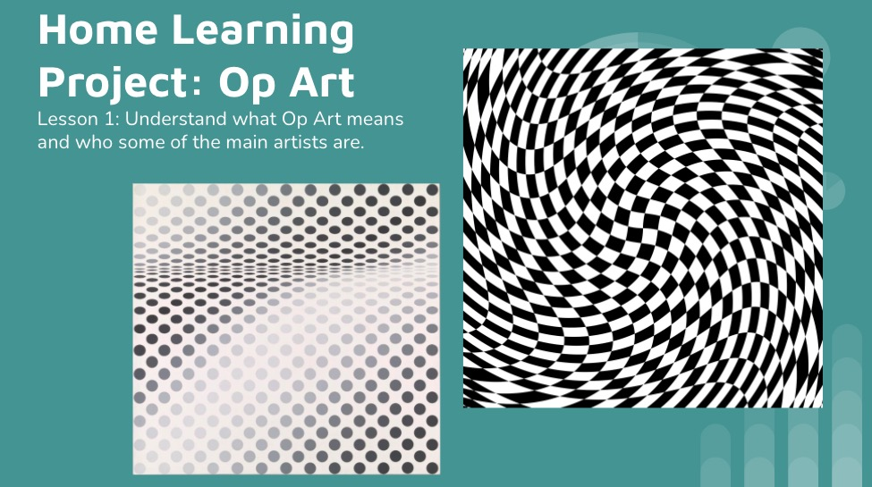 Op Art KS3 lesson home learning project
