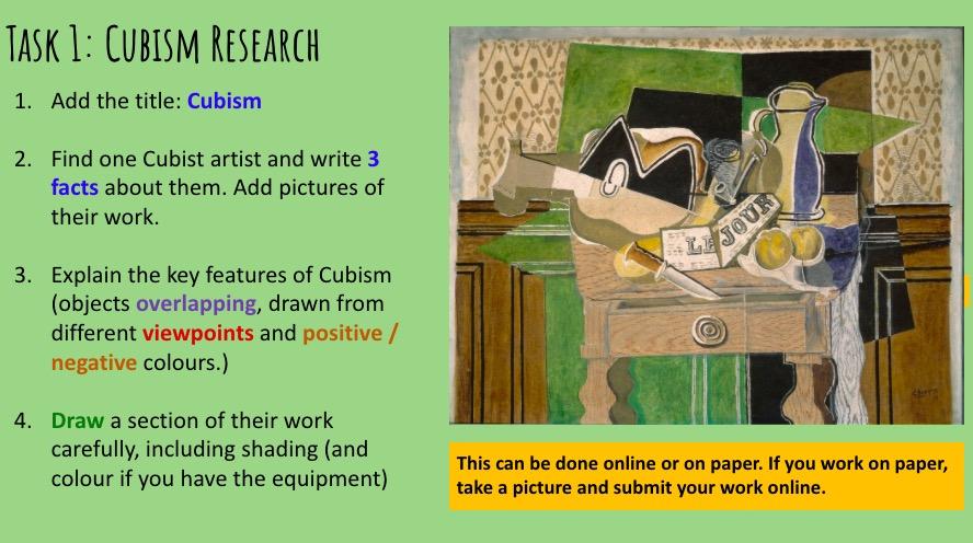 Cubist art lockdown art project lessons