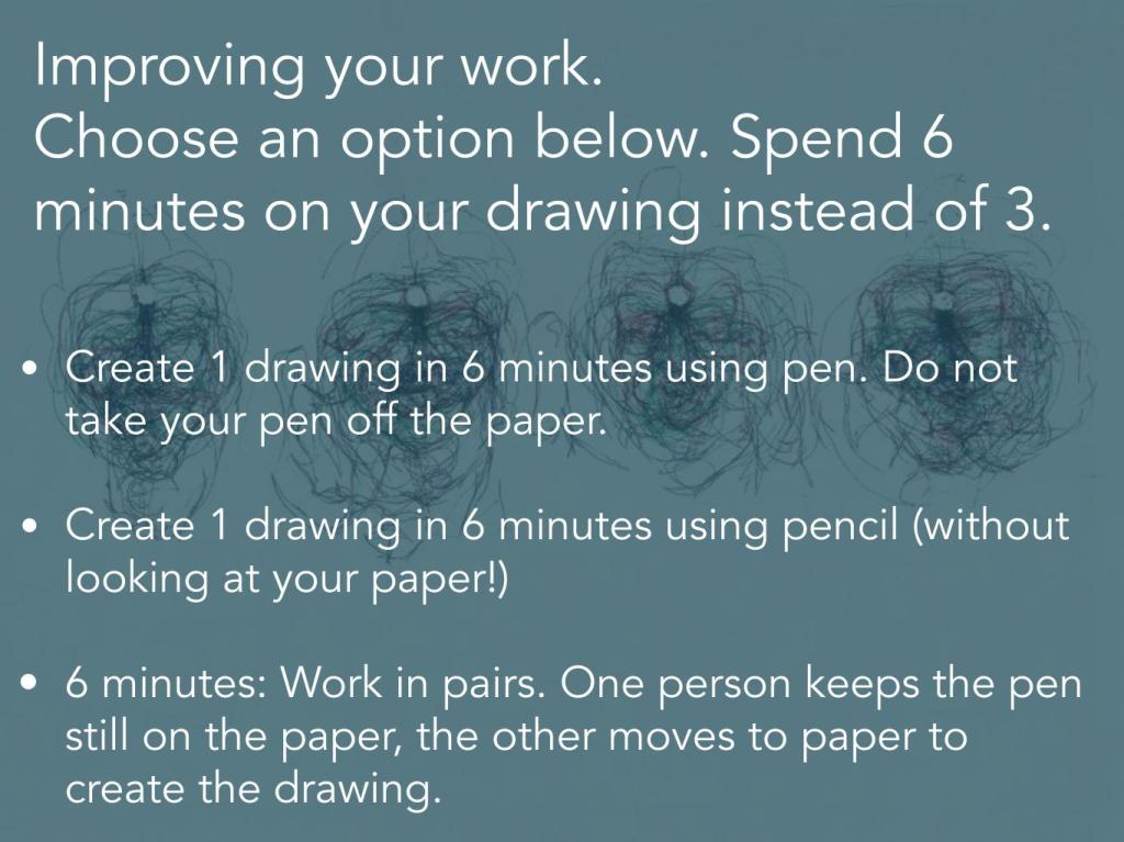 Continuous line drawing and blind drawing activities
