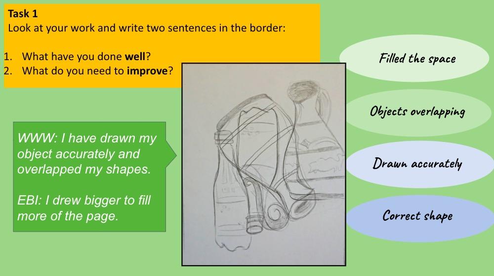 Lockdown art lesson cubism self-assessments