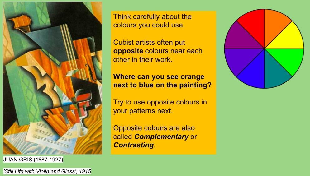 KS3 art project cubism colour theory