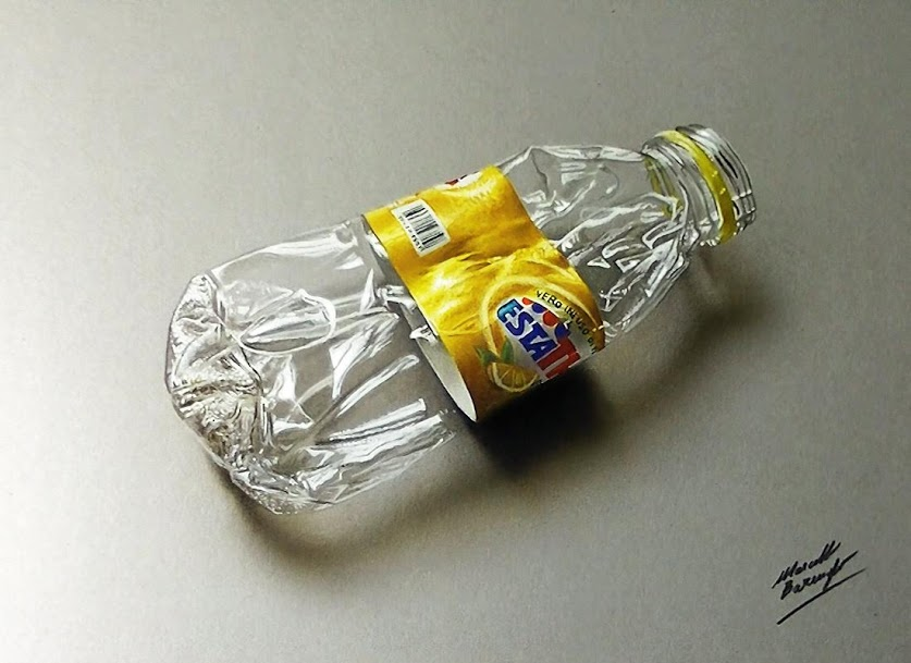 Realistic drawing Marcello Barenghi - plastic bottle crushed