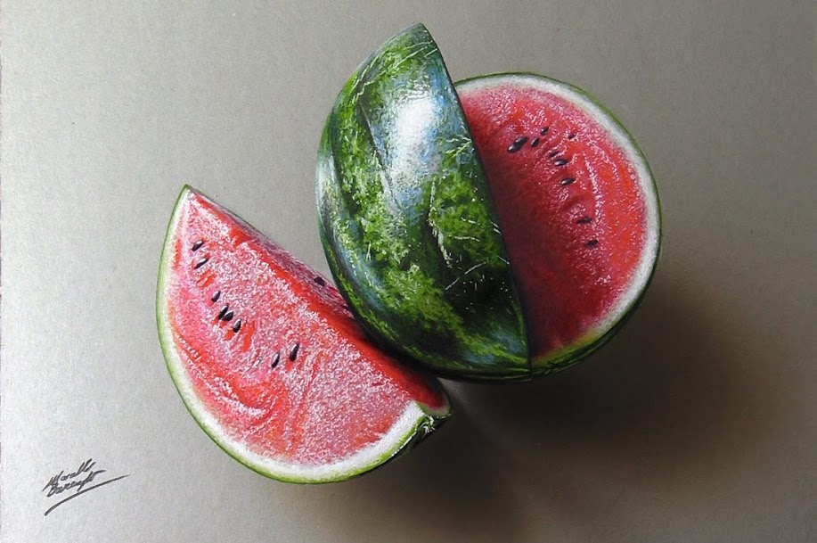 Realistic watermelon drawing by Marcello Barenghi