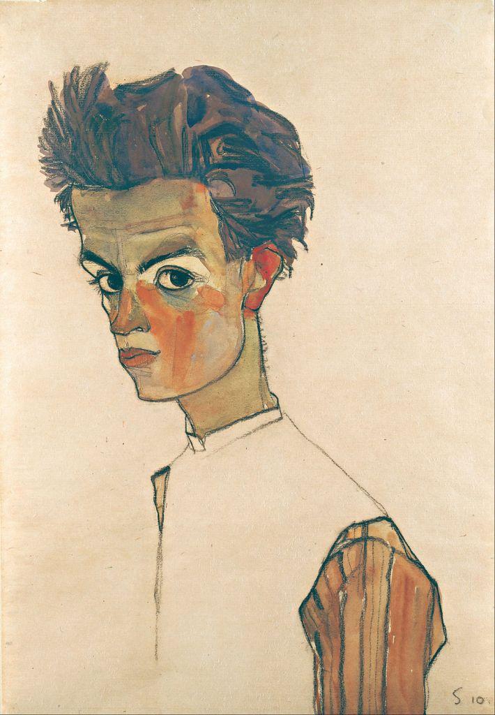 Egon Schiele art lesson - Self-Portrait with Striped Shirt