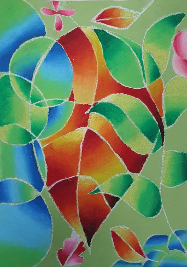 Easy oil pastel art project KS3