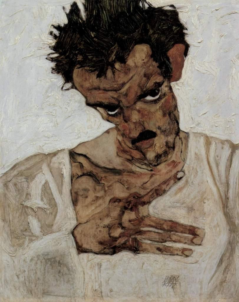 Egon Schiele artist profile - Selbstporträt mit gesenktem Kopf - self portrait with lowered head