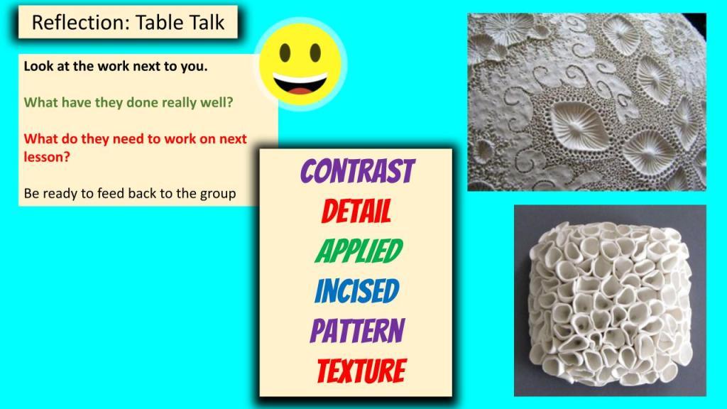 KS3 ceramic lessons lesson reflection plenary