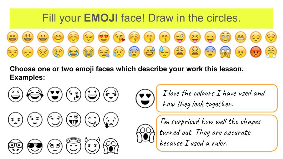 Art Assessment activity - fill your emoji face drawing