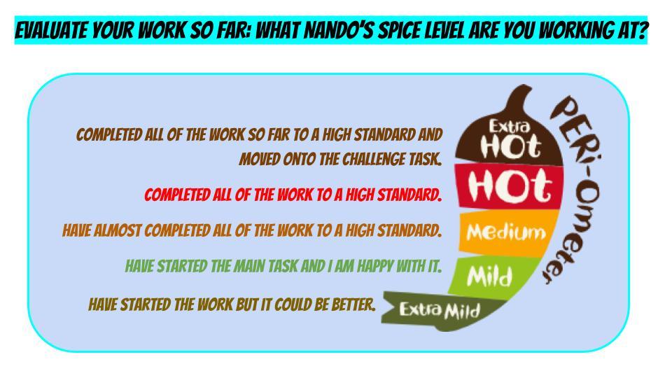 Art Assessment activity - Nando's spice level evaluation