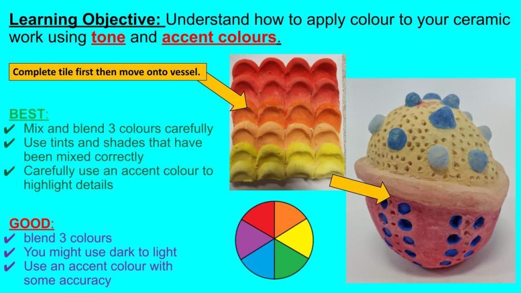 KS3 ceramic lessons colour theory